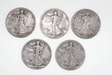 (5) Walking Liberty half dollars: