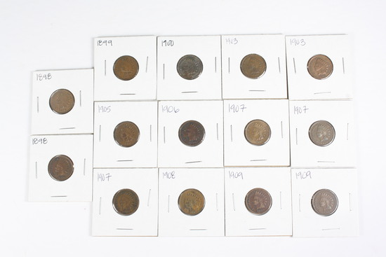 (14) Indian Head Cents