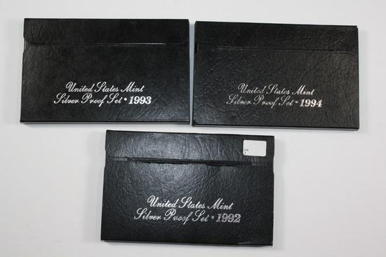 (3) US Mint Silver Proof Sets - 1992, 1993, 1994