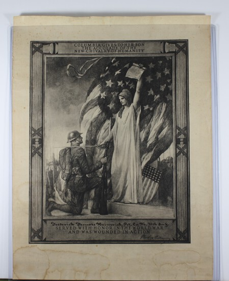 WWI U.S. Wound Certificate to soldier in Co. M