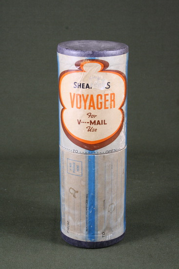 WWII canister of unused V-mail sheets