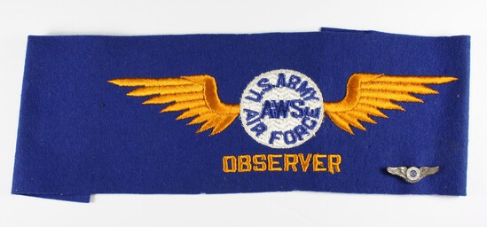 WWII USAAF AWS observer wings armband and