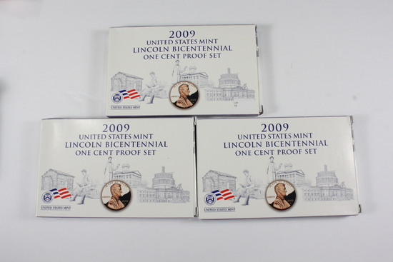(3) 2009 Lincoln BiCentennial Cent Proof Sets