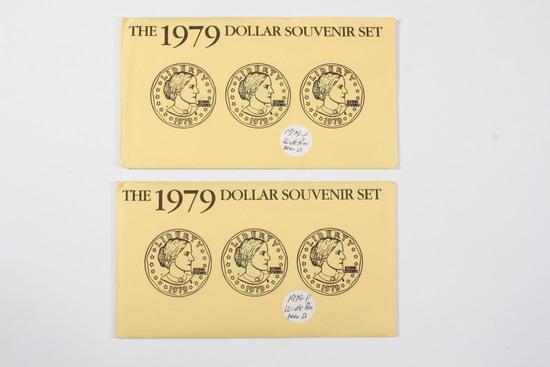 (2) 1979 SBA Dollar Souvenir Sets - WIDE RIM