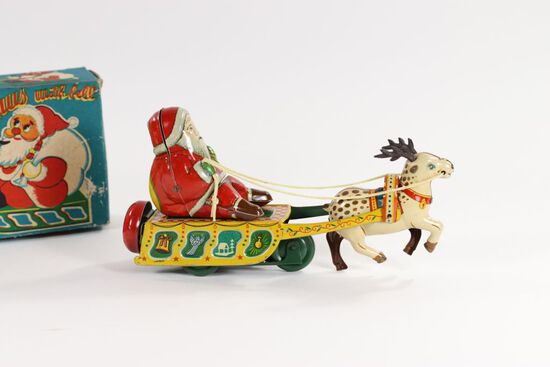 """1950's wind-up """"Mechanical Santa Claus with bell"""""""