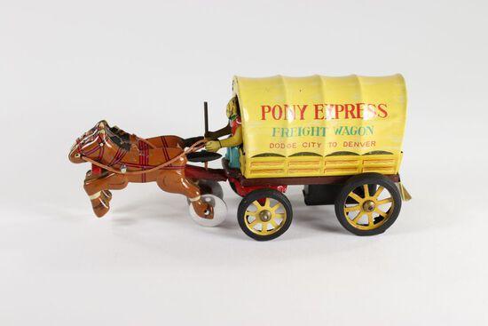 "Antique ""Pony Express Freight Wagon"" tin friction"