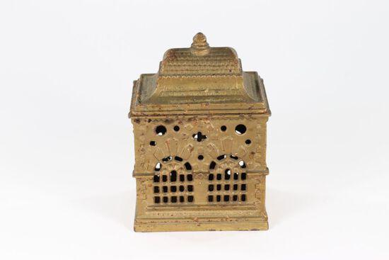 "Antique cast iron ""Bank"" building coin bank"
