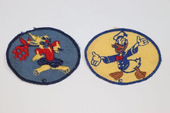 (2) WWII Walt Disney Bond Bread scrap metal drive award patches for kids