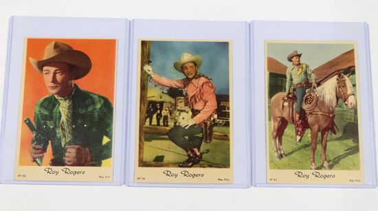 "(3) 1950's European ""Roy Rogers"" color postcards"
