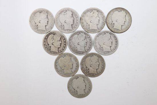 Group of (10) Silver Barber Quarters