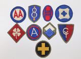 "(9) WWII U.S. ""Greenback"" Army unit patches"