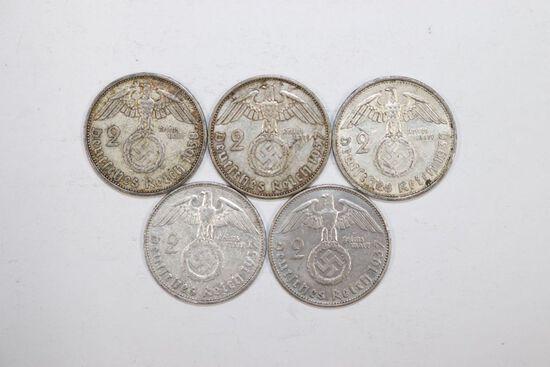 Lot (5) Nazi silver 2 Mark coins