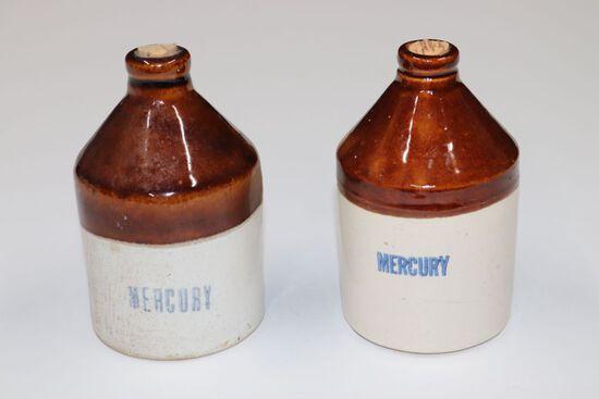 (2) Antique miner's stoneware mercury jugs