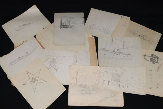 Large group of 1920's/30's young boy's drawings.  Most are planes, ships, motorcycles, etc. done on