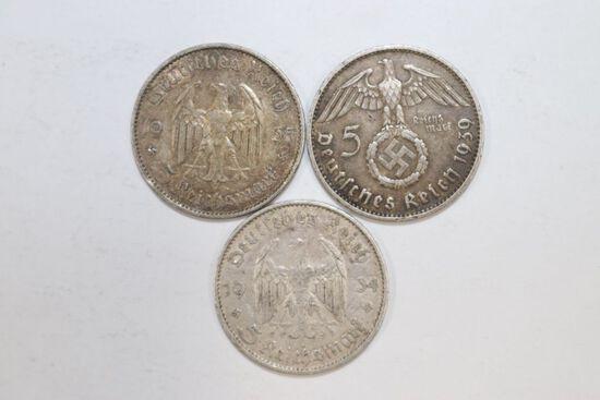 Lot (3) Nazi silver 5 Mark coins