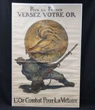 WWI French propaganda poster with Gold Rooster coin