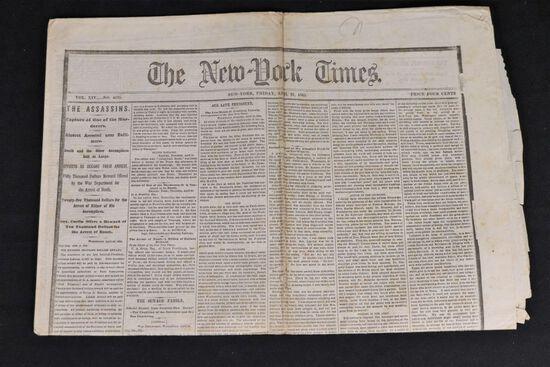 Lincoln Assassination Newspaper 4/21/1865