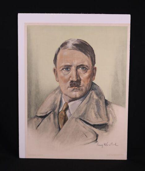 "1930's Kunz Weidlich ""Adolph Hitler"" Lithograph"