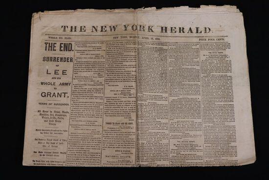 Lee Surrenders 4/10/1865 Newspaper