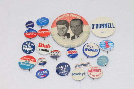Large Group of Political Pin-Backs