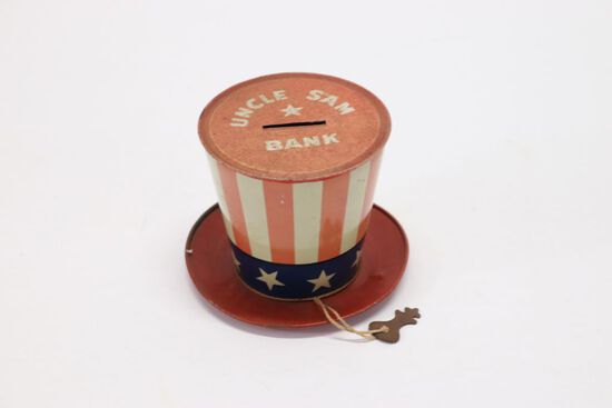 WWII Uncle Sam Tin Litho Hat Bank