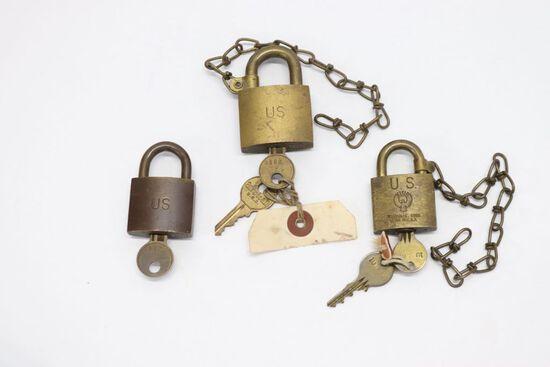 (3) Antique US Army/Military Brass Locks