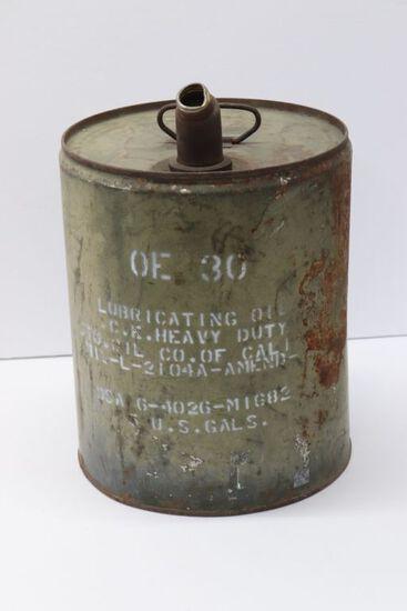 Antique U.S. Army OE-30 5 Gallon Oil Can