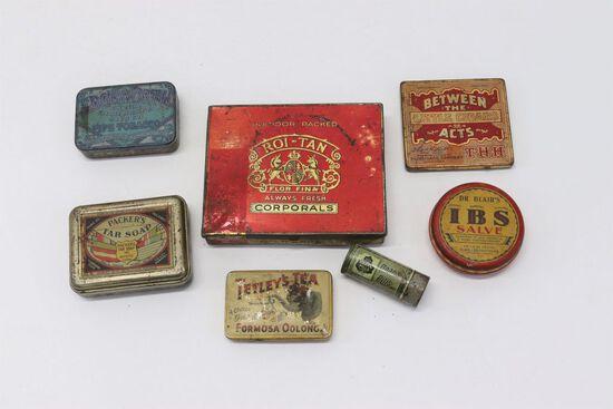 Lot (7) Assorted Antique Tins