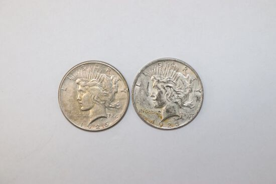 Lot (2) Silver US Peace Dollars