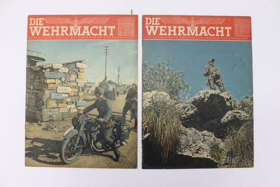 """2 WWII Issues """"Die Wehrmacht"""" Nazi Mag."""
