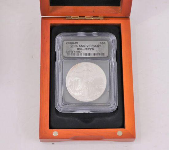 2006-W Silver Eagle 20th Anniv.  ICG - SP70