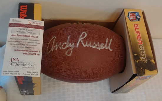 Steelers Andy Russell Autographed Signed Official Football NFL JSA COA HOF