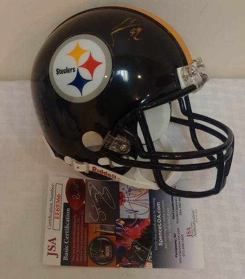 Steelers James Harrison Mini Football Helmet Autographed Signed NFL JSA COA