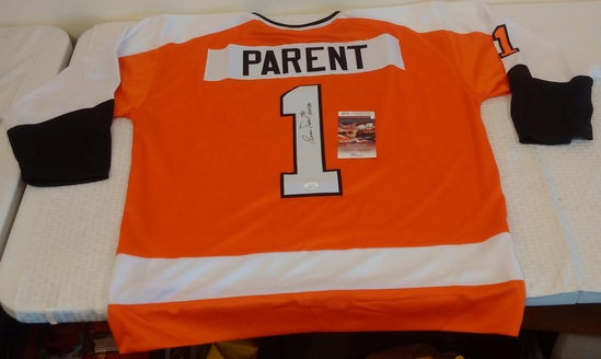 Bernie Parent Autographed Signed NHL Hockey Jersey JSA COA Flyers HOF 84 Inscription XL