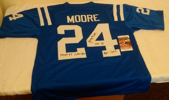 Lenny Moore Colts NFL Football Jersey w/ 3 Inscriptions Rare Signed Autographed JSA COA HOF XL
