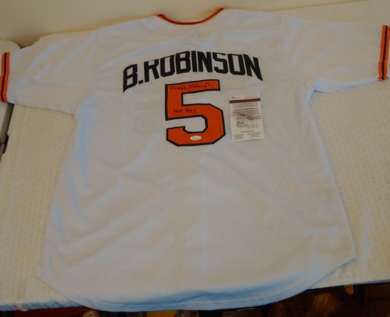 Brooks Robinson Autographed Baseball Signed Jersey Orioles HOF Inscription JSA COA XL