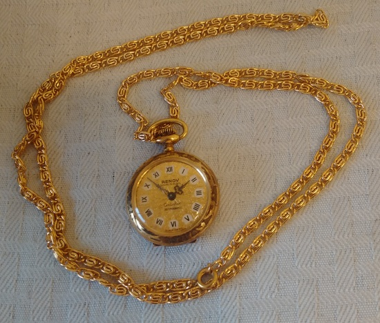 Vintage Renov Pocket Watch Antichox w/ Chain Works Antimagnetic Gold? France