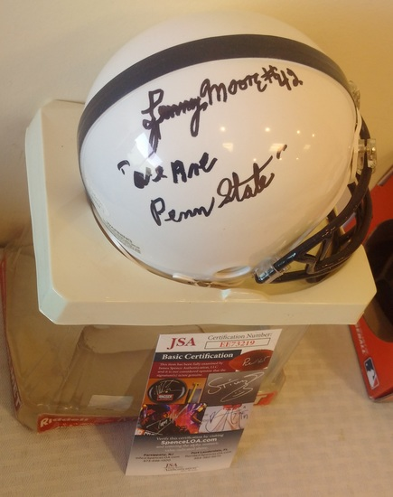 Lenny Moore Colts Autographed Signed Mini Helmet We Are Inscription JSA COA Penn State PSU Paterno