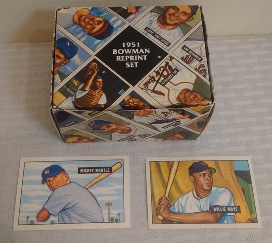 Vintage 1951 Bowman Reprint Complete Factory Set w/ Mantle Mays RC Rookie Card Many Stars HOFers