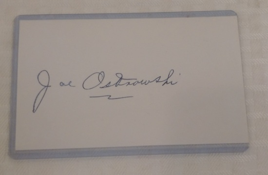 Autographed Signed Index Card PSA COA Baseball Joe Ostrowski Yankees