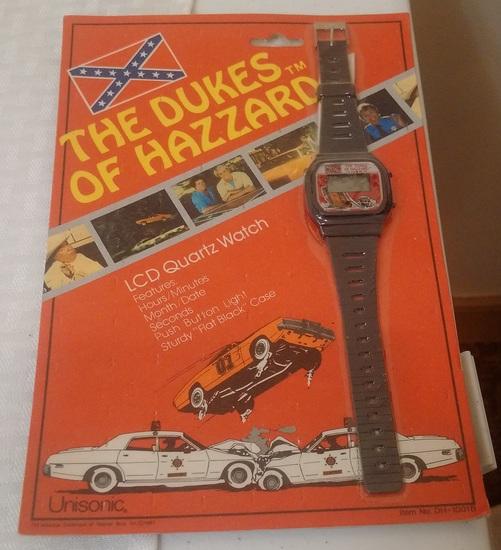 Vintage 1981 Ultrasonic Dukes Of Hazzard Sealed Wrist Watch LCD Quartz Bo Luke Boss Hogg