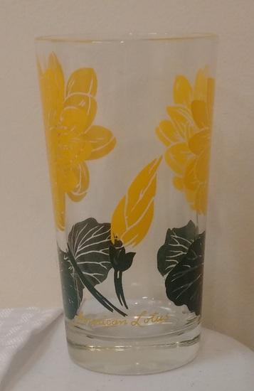 Vintage 5'' Boscul Peanut Butter Glass American Lotus Yellow Tumbler Flower