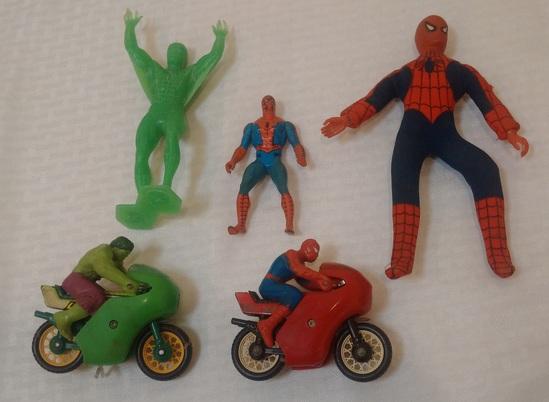 Vintage Marvel 1970s 1980s Spider Man Hulk Toy Lot Mego Marx Figures Buddy L Motor Cycle Secret Wars