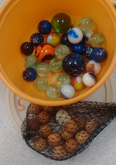 Vintage Marbles Lot Clay Older Newer Orange Black Swirl Speckled