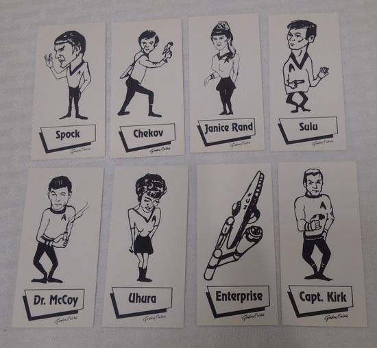 Vintage 1968 Gordon Currier Star Trek Complete 8 Card Set NRMT Sharp Kirk Spock Uhura Chekov Sulu