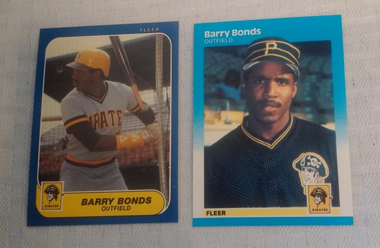 Vintage 1986 Fleer Update & 1987 Baseball Rookie Card RC Pair Barry Bonds Pirates Sharp Pack Fresh