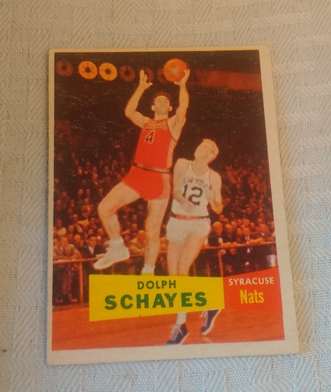 Vintage 1957 Topps NBA Basketball #13 Dolph Schayes Rookie Card RC Syracuse Nats