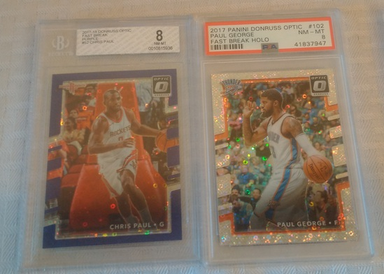 2 NBA Basketball GRADED Card Lot PSA BGS Inserts Chris Paul George Donruss Panini Optic NRMT