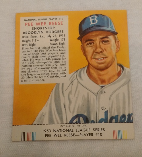 Vintage 1953 Red Man Tobacco Baseball Card w/ Tab Pee Wee Reese Dodgers HOF