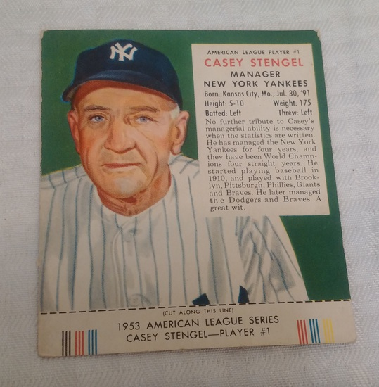 Vintage 1953 Red Man Tobacco Baseball Card w/ Tab Casey Stengel Yankees HOF